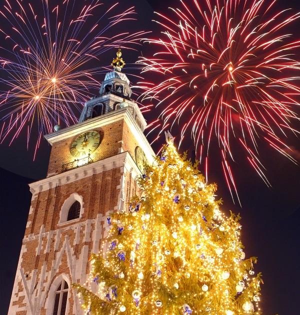 Artificii, Piata Centrala din Cracovia, Polonia
