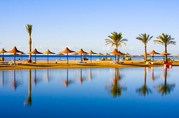 Plaja, mare, coasta, palmieri, umbrele, Hurghada, Egipt