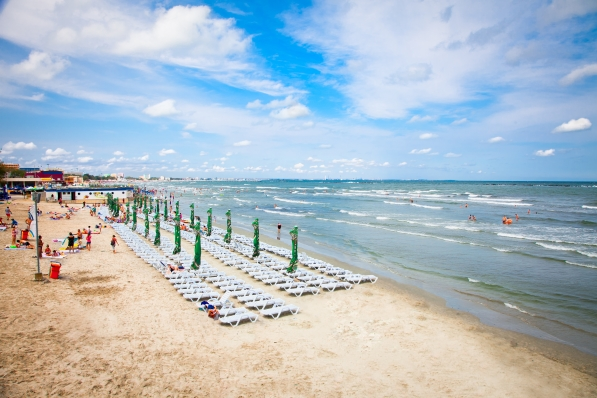 Beautiful beach in summer on August 11, 2012 in Mamaia, Romania shutterstock_126331538
